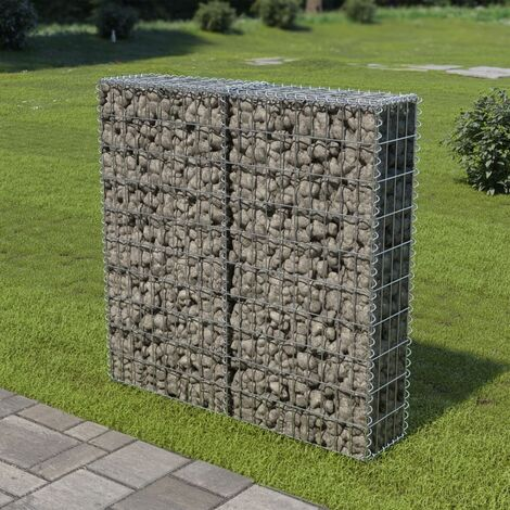vidaXL Gabion Wall with Covers Galvanised Steel 100x20x100 cm - Silver
