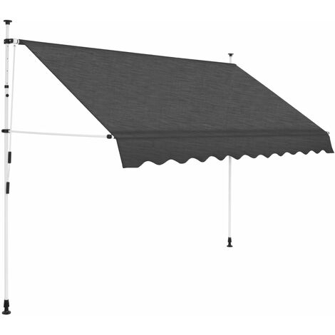 vidaXL Manual Retractable Awning 300 cm Anthracite - Grey
