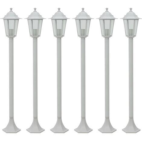 vidaXL Garden Post Lights 6 pcs E27 110 cm Aluminium White - White