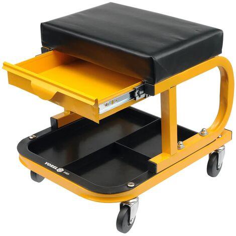 VOREL Workshop Seat with Drawer - Yellow