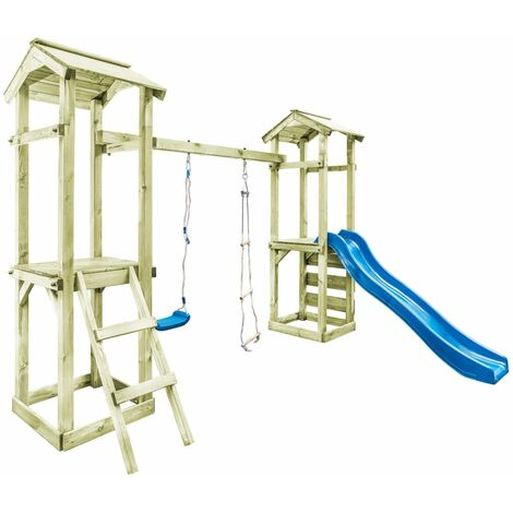 vidaXL Playhouse with Ladder, Slide and Swing 300x197x218 cm Wood - Brown