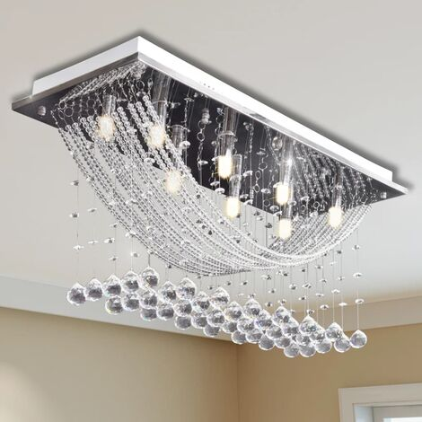 White Ceiling Lamp with Glittering Glass Crystal Beads 8 x G9 29 cm - Silver