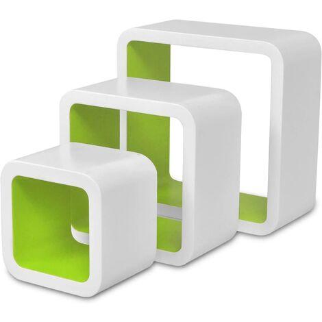 vidaXL Wall Cube Shelves 6 pcs White and Green - Red
