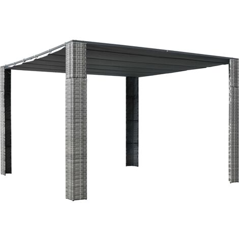 vidaXL Gazebo with Roof Poly Rattan 300x300x200 cm Grey and Anthracite - Anthracite