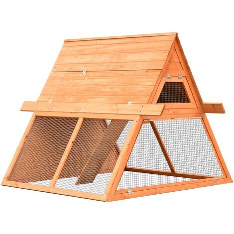 vidaXL Rabbit Hutch Solid Pine & Fir Wood 152x128x108 cm - Brown