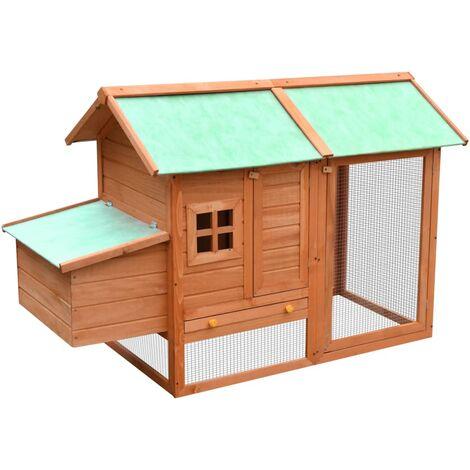 vidaXL Chicken Cage Solid Pine & Fir Wood 170x81x110 cm - Brown