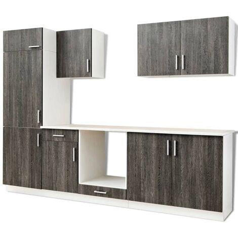 vidaXL Kitchen Cabinet Unit Built-in Fridge 7 Pieces Wenge Look - Brown