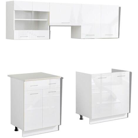 vidaXL Kitchen Cabinet Unit 5 Pieces High Gloss White 200 cm - White