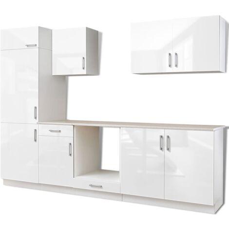 vidaXL Kitchen Cabinet Built-in Fridge 7 Pieces High Gloss White 270cm - White