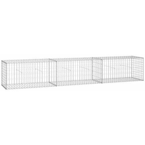 vidaXL Gabion Wall with Covers Galvanised Steel 300x50x50 cm - Silver
