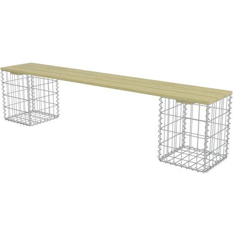 vidaXL Gabion Bench 180 cm Galvanised Steel and Pinewood - Green