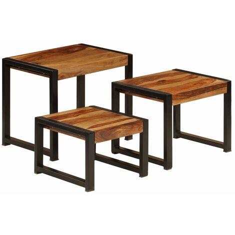 vidaXL Nesting Tables 3 pcs Solid Sheesham Wood - Brown