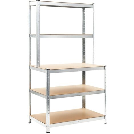 vidaXL Storage Shelf Silver 100x60x180 cm Steel and MDF - Silver
