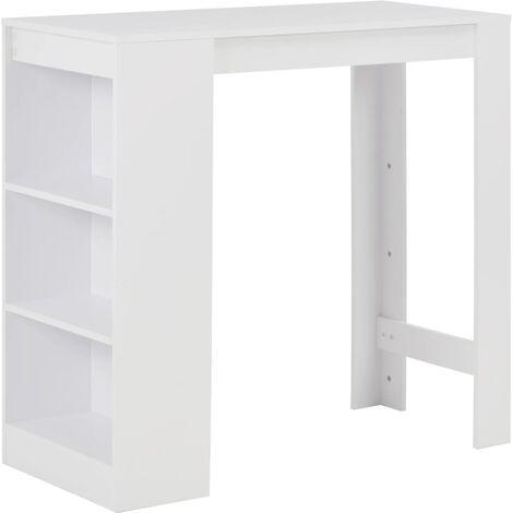 vidaXL Bar Table with Shelf 110x50x103 cm White - White