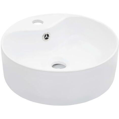 vidaXL Wash Basin with Overflow 36x13 cm Ceramic White - White