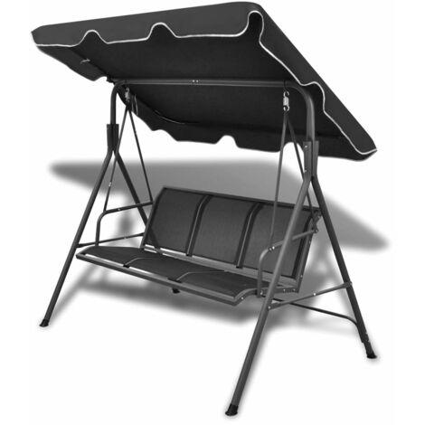 vidaXL Garden Swing Bench with Canopy Black - Black