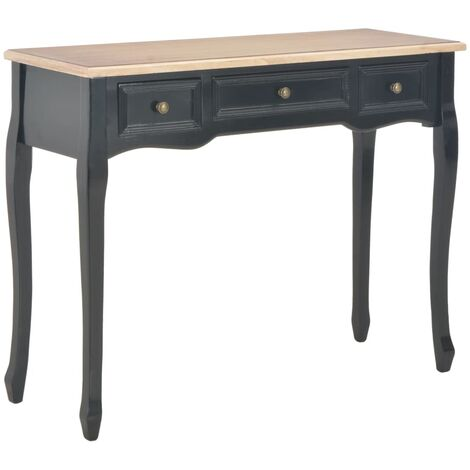 vidaXL Dressing Console Table with 3 Drawers Black - Black