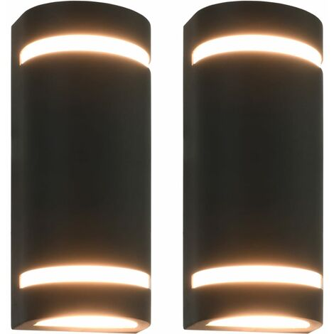 vidaXL Outdoor Wall Lights 2 pcs 35 W Black Half-round - Black