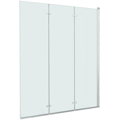 vidaXL Folding Shower Enclosure 3 Panels ESG 130x138 cm