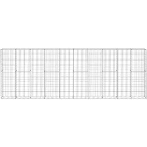 vidaXL Gabion Wall with Covers Galvanised Steel 600x30x200 cm - Silver