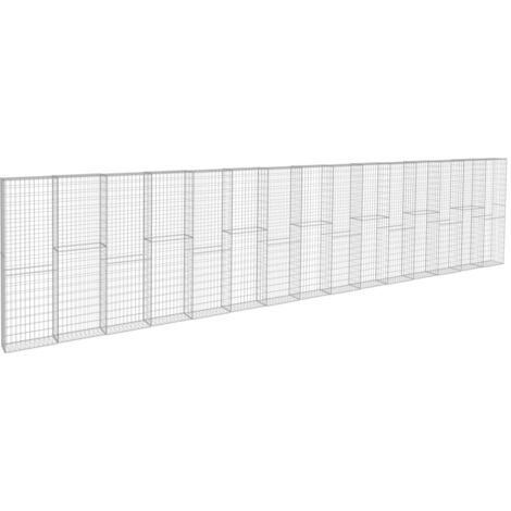 vidaXL Gabion Wall with Covers Galvanised Steel 900x50x200 cm - Silver