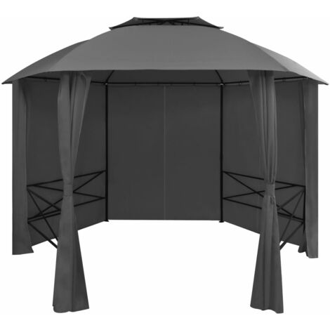 vidaXL Garden Marquee Pavilion Tent with Curtains Hexagonal 360x265 cm - Grey