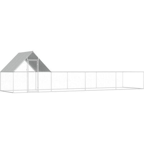 vidaXL Chicken Coop 8x2x2 m Galvanised Steel - Silver