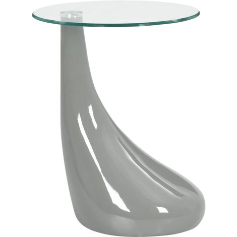 vidaXL Coffee Table with Round Glass Top High Gloss Grey - Grey