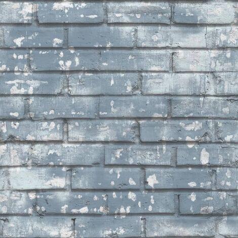 Urban Friends & Coffee Wallpaper Bricks Blue and White - Blue