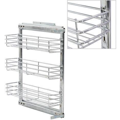 vidaXL 3-Tier Pull-out Kitchen Wire Basket Silver 47x15x56 cm - Silver