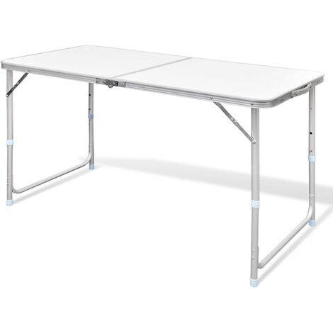Foldable Camping Table Height Adjustable Aluminium 120 x 60 cm - White