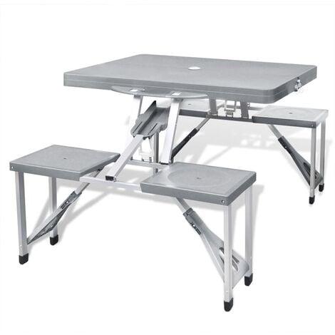 Foldable Camping Table Set with 4 Stools Aluminium Extra Light Grey - Grey
