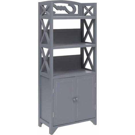 vidaXL Bathroom Cabinet 46x24x116 cm Paulownia Wood Grey - Grey