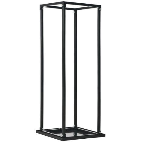 vidaXL Firewood Rack with Base Black 37x37x113 cm Steel - Black