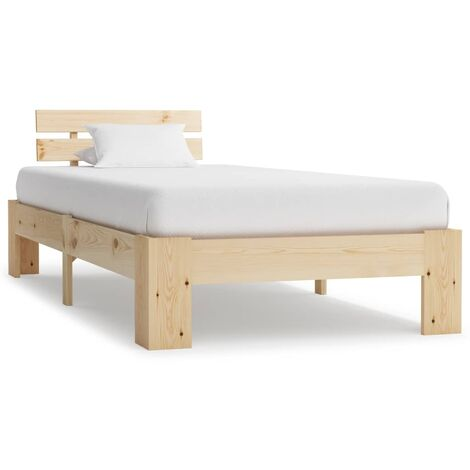 vidaXL Bed Frame Solid Pine Wood 100x200 cm - Brown