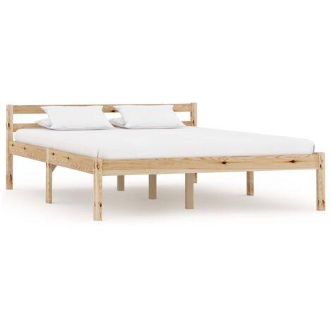 vidaXL Bed Frame Solid Pine Wood 140x200 cm - Brown
