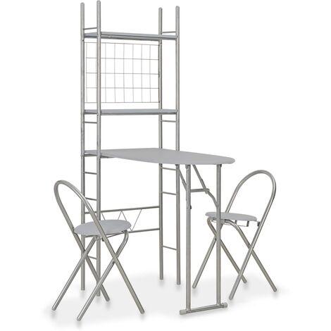 vidaXL 3 Piece Folding Dining Set with Storage Rack MDF and Steel Grey - Grey