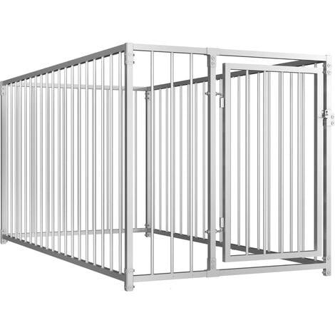 vidaXL Outdoor Dog Kennel 100x200x100 cm - Silver