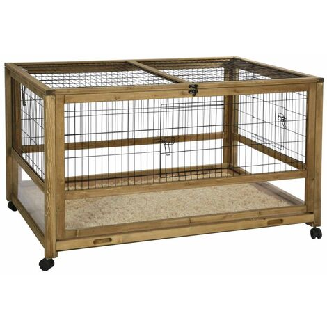 Kerbl Small Animal Cage for Indoor Space 116x75x70 cm Wood Brown - Brown