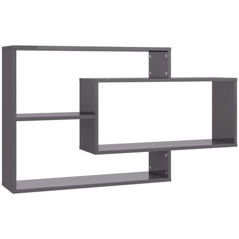 vidaXL Wall Shelves High Gloss Grey 104x20x60 cm Chipboard - Grey