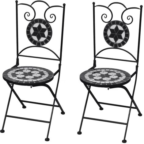 vidaXL Folding Bistro Chairs 2 pcs Ceramic Black and White - Multicolour