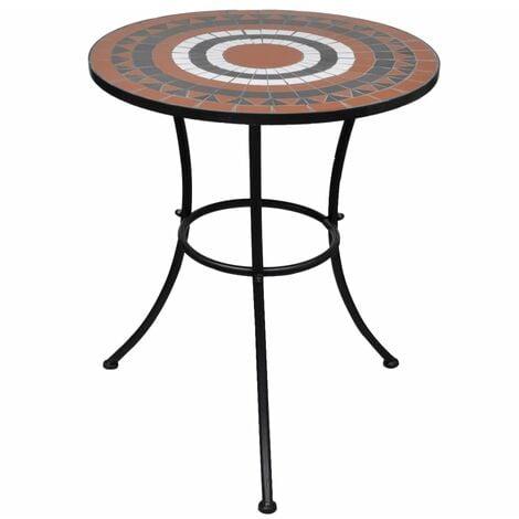 vidaXL Bistro Table Terracotta and White 60 cm Mosaic - Brown
