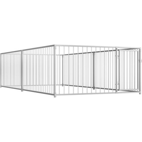 vidaXL Outdoor Dog Kennel 200x400x100 cm - Silver