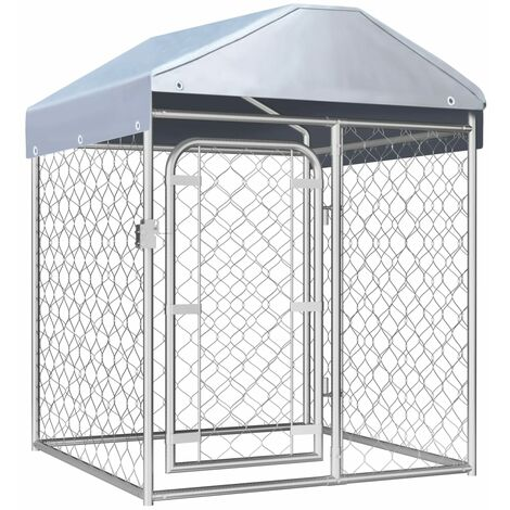 vidaXL Outdoor Dog Kennel with Roof 100x100x125 cm - Silver