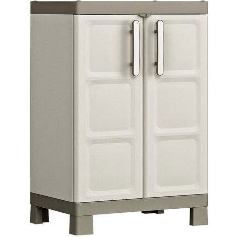 Keter Low Storage Cabinet Excellence Beige and Taupe 97 cm - Beige