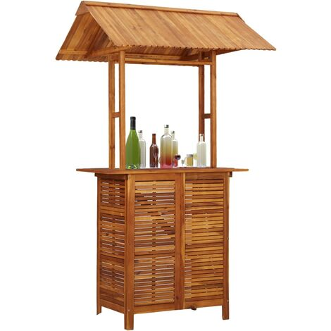 vidaXL Outdoor Bar Table with Rooftop 122x106x217 cm Solid Acacia Wood - Brown