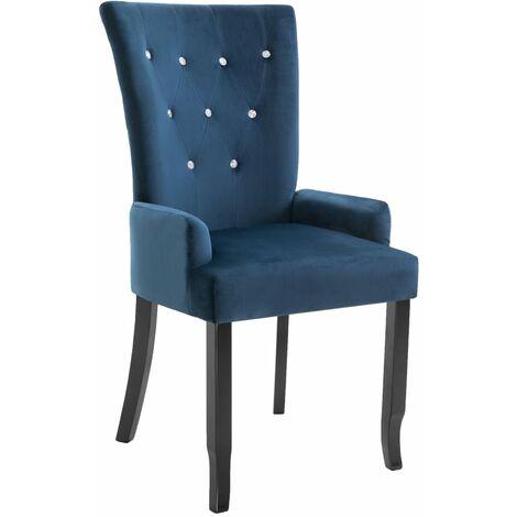 vidaXL Dining Chair with Armrests Dark Blue Velvet - Blue