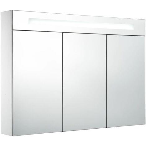 vidaXL LED Bathroom Mirror Cabinet 88x13x62 cm