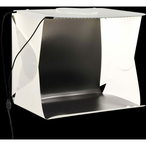 vidaXL Folding LED Photo Studio Light Box 40x34x37 cm Plastic White - White
