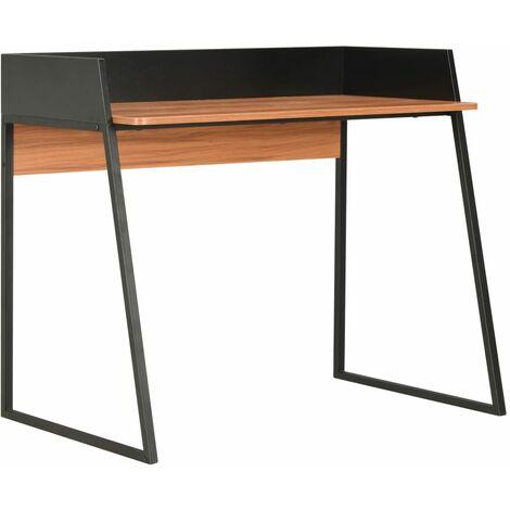 vidaXL Desk 90x60x88 cm Black and Brown - Black
